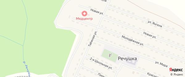 Таёжная улица на карте поселка Речушки Иркутской области с номерами домов