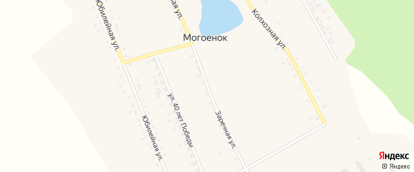 Заречная улица на карте села Могоенок Иркутской области с номерами домов