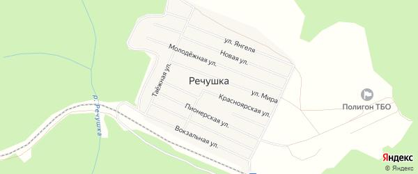 Карта поселка Речушки в Иркутской области с улицами и номерами домов