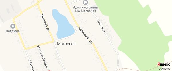 Колхозная улица на карте села Могоенок Иркутской области с номерами домов