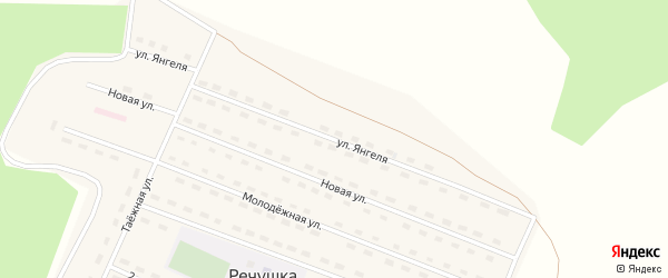 Улица Янгеля на карте поселка Речушки Иркутской области с номерами домов