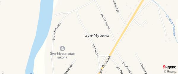 Улица Мира на карте поселка Зун-Мурино Бурятии с номерами домов