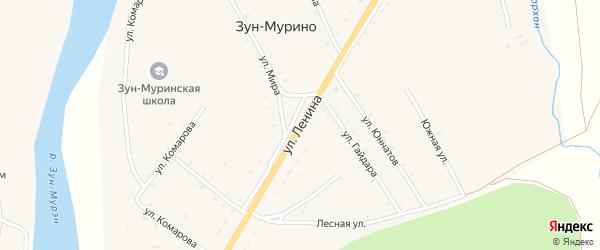 Улица Ленина на карте поселка Зун-Мурино Бурятии с номерами домов