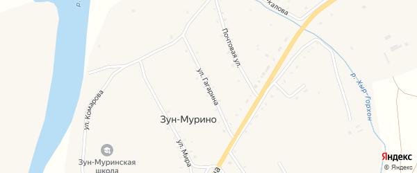 Улица Гагарина на карте поселка Зун-Мурино Бурятии с номерами домов