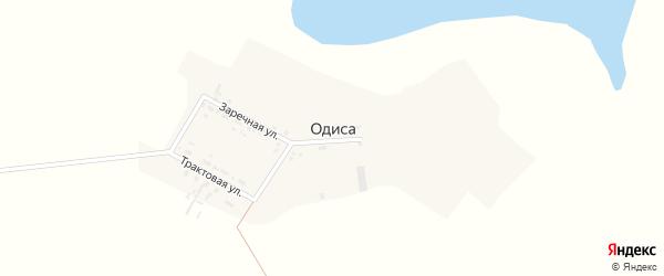 Заречная улица на карте деревни Одиса Иркутской области с номерами домов