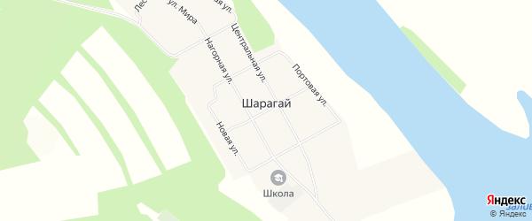 Карта села Шарагай в Иркутской области с улицами и номерами домов