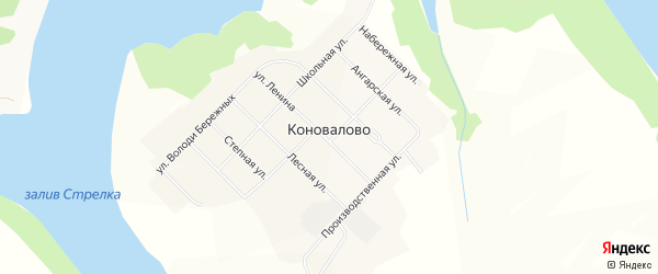 Карта села Коновалово в Иркутской области с улицами и номерами домов
