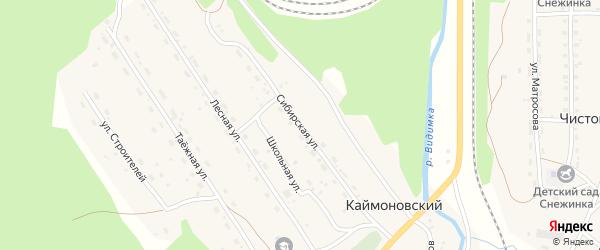 Сибирская улица на карте Каймоновский поселка Иркутской области с номерами домов