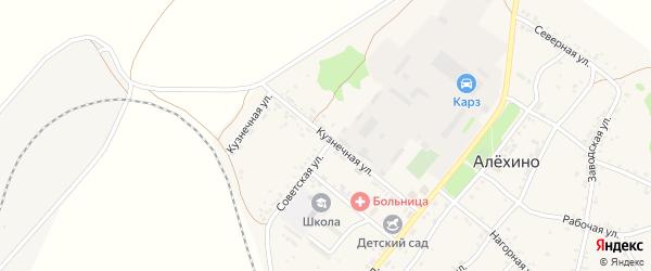 Кузнечная улица на карте села Алехино Иркутской области с номерами домов