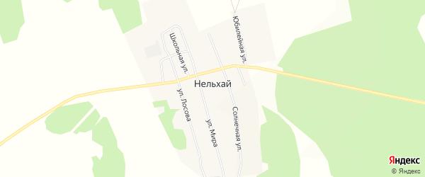 Карта деревни Нельхай в Иркутской области с улицами и номерами домов