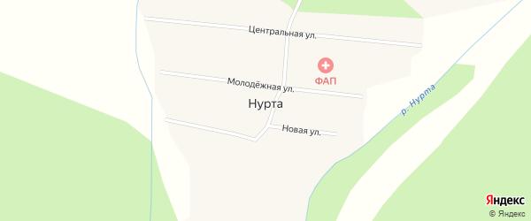 Центральная улица на карте улуса Нурта с номерами домов