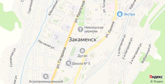 Начальная улица в Закаменске с номерами домов на карте. Спутник и схема онлайн
