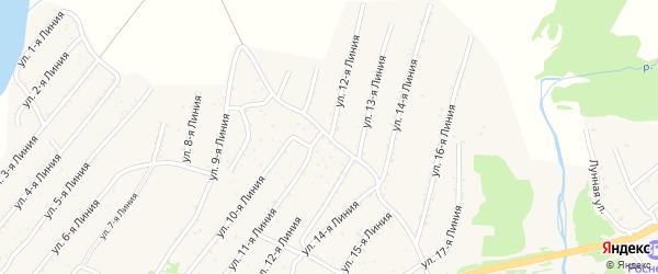 12-я линия на карте территории ДНТ Горняка с номерами домов