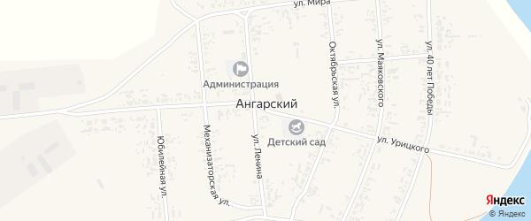 Лесная улица на карте Ангарского поселка Иркутской области с номерами домов