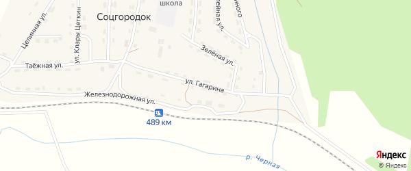 Улица Гагарина на карте поселка Соцгородка Иркутской области с номерами домов