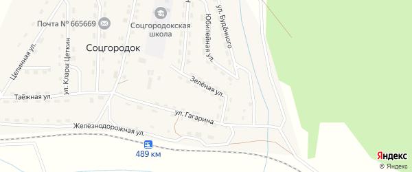 Зеленая улица на карте поселка Соцгородка Иркутской области с номерами домов