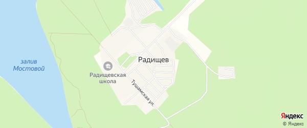 Молодежный ГСК на карте поселка Радищева с номерами домов