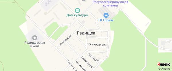 Улица Строителей на карте поселка Радищева с номерами домов