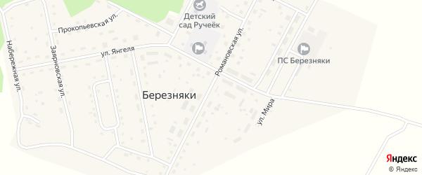 Романовская улица на карте поселка Березняков Иркутской области с номерами домов