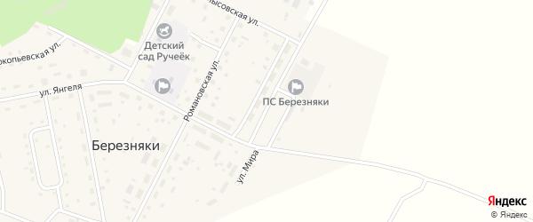 Улица Мира на карте поселка Березняков Иркутской области с номерами домов