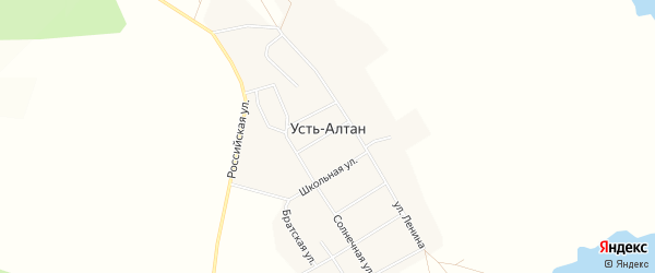 Карта села Усть-Алтан в Иркутской области с улицами и номерами домов