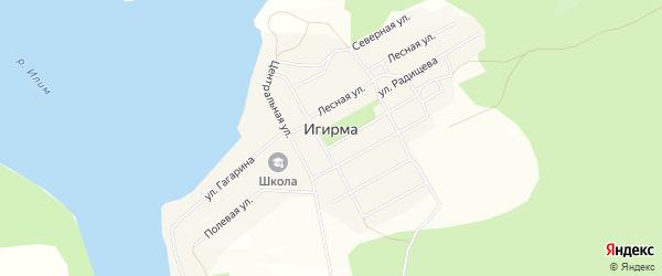 Карта поселка Игирма в Иркутской области с улицами и номерами домов