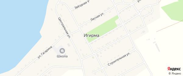 Строительная улица на карте поселка Игирма Иркутской области с номерами домов