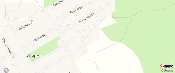 Пенсионерская улица на карте поселка Игирма Иркутской области с номерами домов