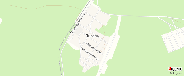ГСК Восход на карте поселка Янгеля Иркутской области с номерами домов