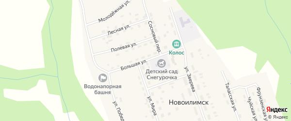 Большая улица на карте поселка Новоилимска Иркутской области с номерами домов