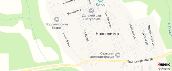Улица Мира на карте поселка Новоилимска Иркутской области с номерами домов