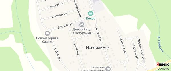 Почтовый переулок на карте поселка Новоилимска Иркутской области с номерами домов
