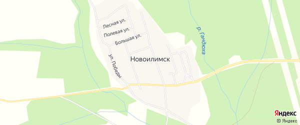 Карта поселка Новоилимска в Иркутской области с улицами и номерами домов