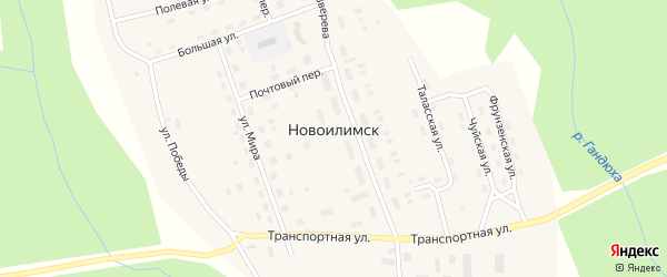 Сельскохозяйственный проезд на карте поселка Новоилимска Иркутской области с номерами домов