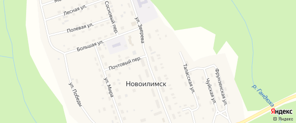 Улица Зверева на карте поселка Новоилимска Иркутской области с номерами домов