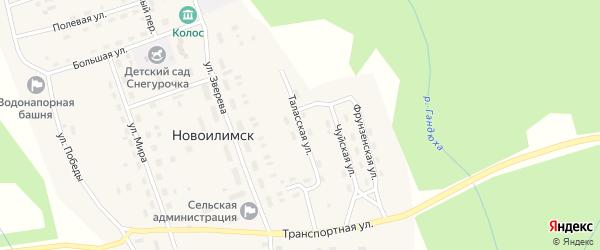 Таласская улица на карте поселка Новоилимска Иркутской области с номерами домов