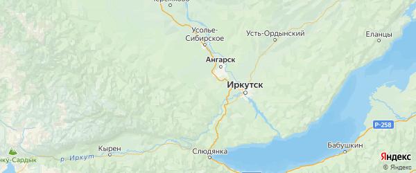 Карта Ангарского района Иркутской области с городами и населенными пунктами
