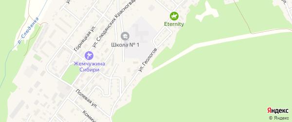 Улица Геологов на карте Слюдянки с номерами домов