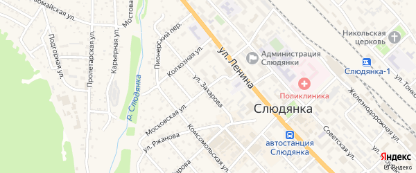 Московская улица на карте Слюдянки с номерами домов