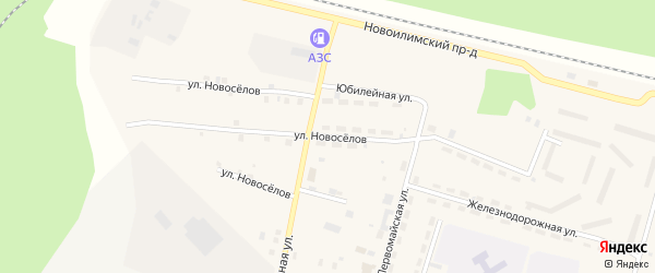 Улица Новоселов на карте поселка Рудногорска с номерами домов