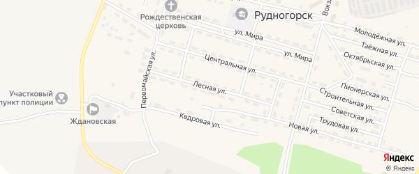 Лесная улица на карте поселка Рудногорска с номерами домов