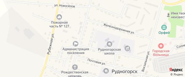 Школьный переулок на карте поселка Рудногорска с номерами домов