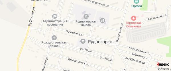 Почтовая улица на карте поселка Рудногорска с номерами домов