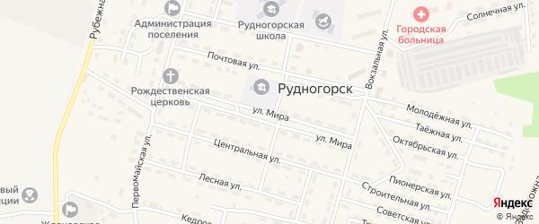 Улица Мира на карте поселка Рудногорска с номерами домов