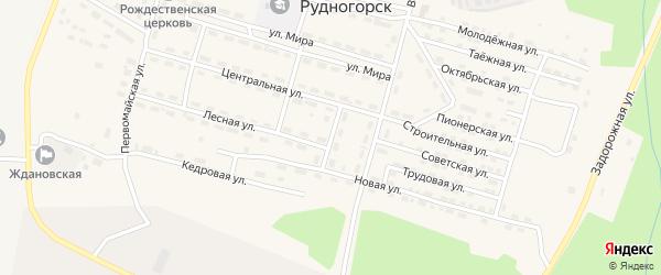 Центральный переулок на карте поселка Рудногорска с номерами домов