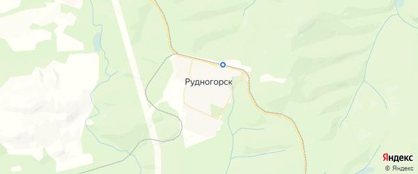 Карта поселка Рудногорска Иркутской области с районами, улицами и номерами домов