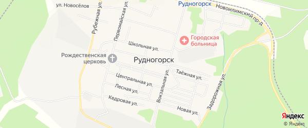 Промышленная зона Промзона на карте поселка Рудногорска с номерами домов