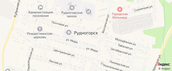 Северный микрорайон на карте поселка Рудногорска с номерами домов