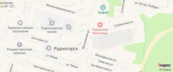 Вокзальная улица на карте поселка Рудногорска с номерами домов