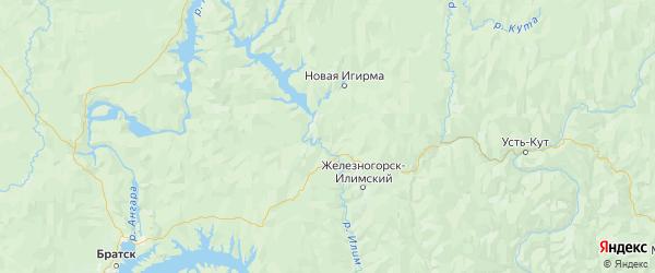 Карта Нижнеилимского района Иркутской области с городами и населенными пунктами